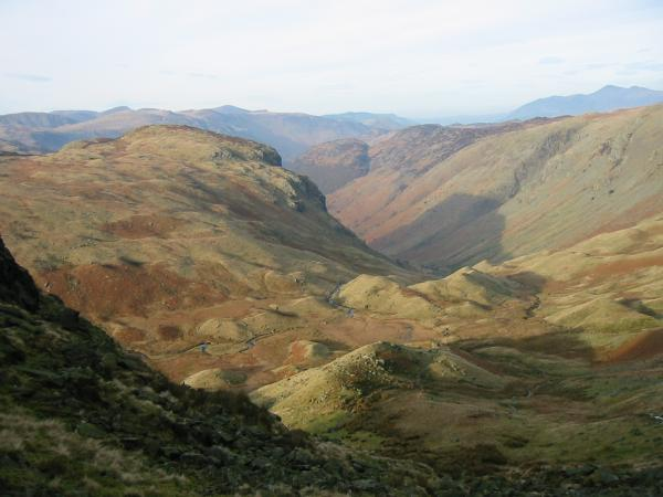 Eagle Crag and Greenup Gill from near Lining Crag