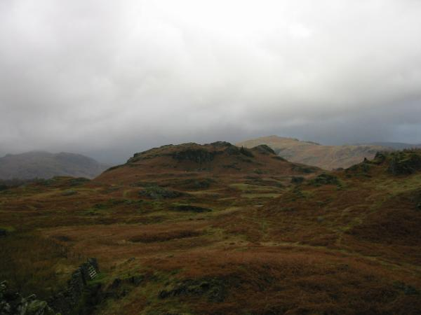 Great How with Lingmoor Fell behind on the right from Low Oxen Fell