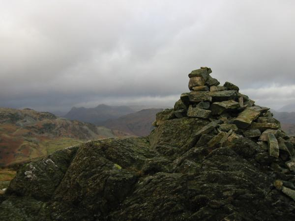 The Langdale Pikes from Holme Fell summit