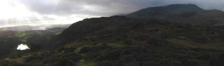 Panorama - Yew Tree Tarn, Coniston Water, Holme Fell and Wethererlam from Holme Fell's northeast ridge