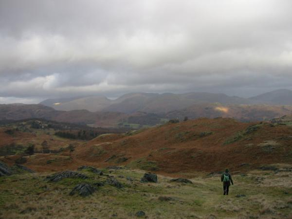 Descending northwards off Holme Fell with Fairfield in the distance