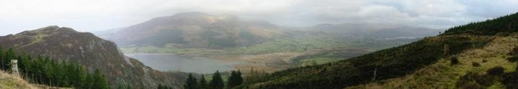 Panorama - Barf, Skiddaw Fells, Vale of Keswick and Derwent Water from Whinlatter Forest