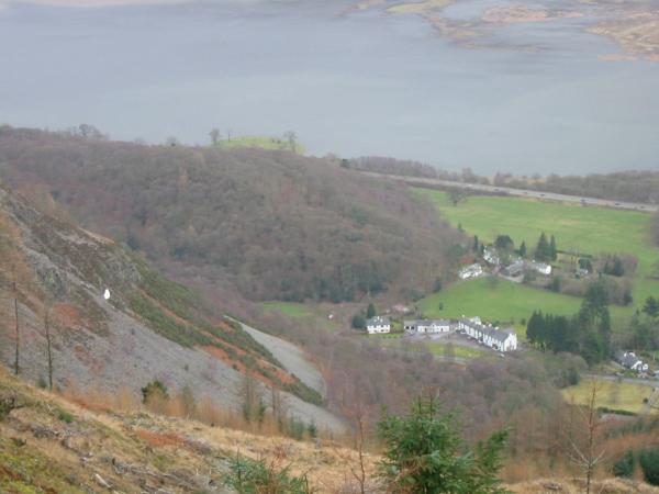 The Bishop, the Swan Hotel and Bassenthwaite Lake from Whinlatter Forest