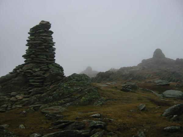 Ill Bell's three summit cairns, looking northwards
