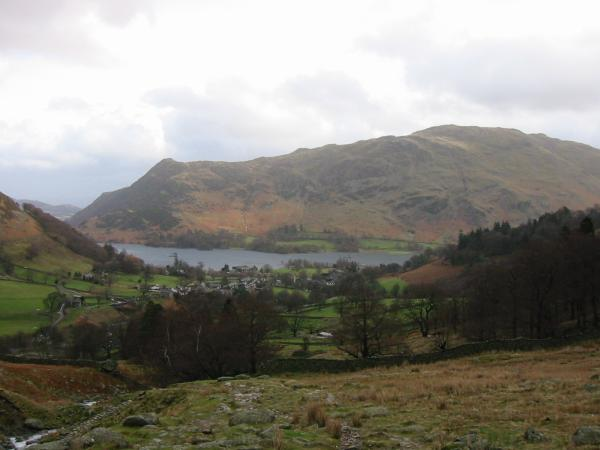 Glenridding village, Ullswater and Place Fell from the path up Birkhouse Moor