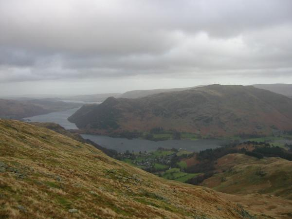 Glenridding village, Ullswater and Place Fell from near the top of Birkhouse Moor
