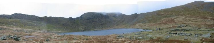 Red Tarn panorama: High Spying How, Striding Edge, Helvellyn, Swirral Edge and Catstycam