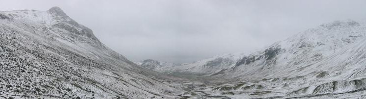 Panorama of Langdale from near the bottom of Stake Gill