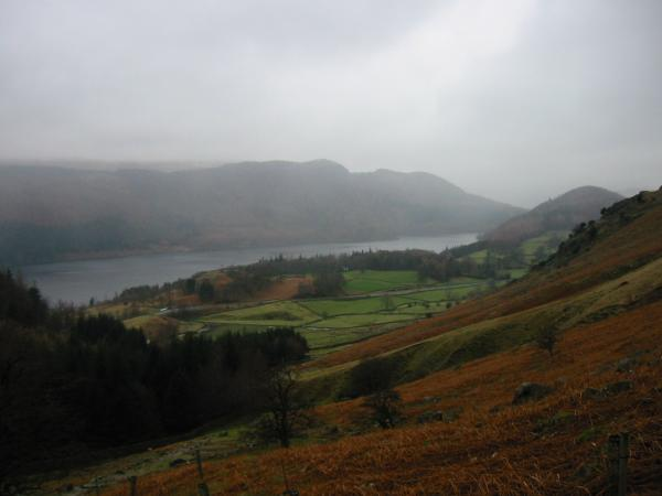 Raven Crag, Thirlmere and Great How from above Swirls