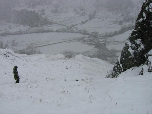 Descending back to Grasmere with Brimmer Head Farm in the valley below
