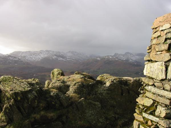 Crinkle Crags, Bowfell and the Langdale Pikes from Black Crag summit