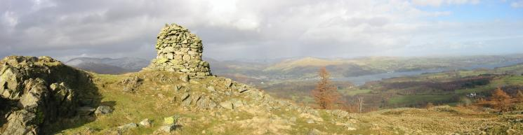 Fairfield, Ambleside and Windermere from Black Crag's south eastern cairn