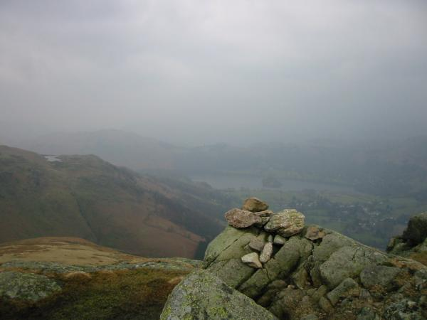 Alcock Tarn and Grasmere from Stone Arthur's summit