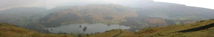 South westerly panorama from Nab Scar: Ambleside, Windermere, Rydal Water, Loughrigg and Grasmere