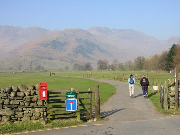 The Band and Bowfell from the start of the road to Stool End Farm