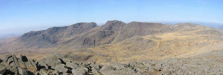 The Scafells and Esk Pike from Bowfell