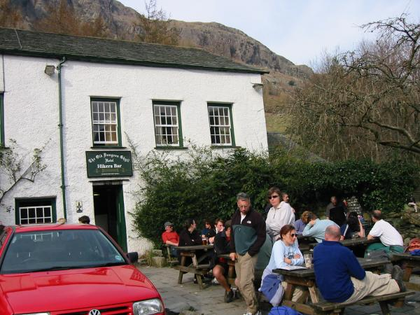 A great pint to finish off the day, Old Dungeon Ghyll Hotel, Langdale