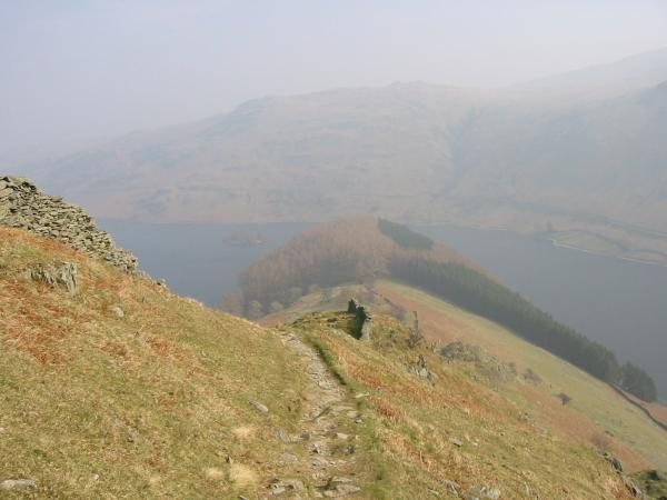 Looking back down on The Rigg and Haweswater from the climb up Rough Crag