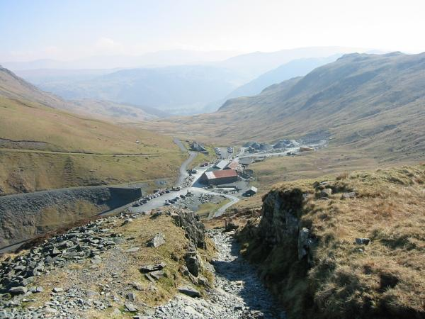 Looking back down on Honister Hause from the climb upto the Drum House