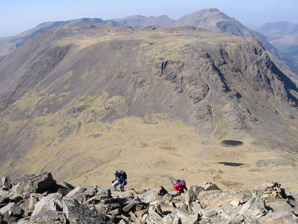 Climbing Great Gable's northwest ridge from Beck Head