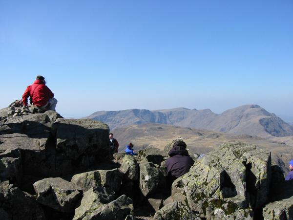 Looking over Kirk Fell to Red Pike (Wasdale), Scoat Fell, Steeple, Black Crag and Pillar from Great Gable summit