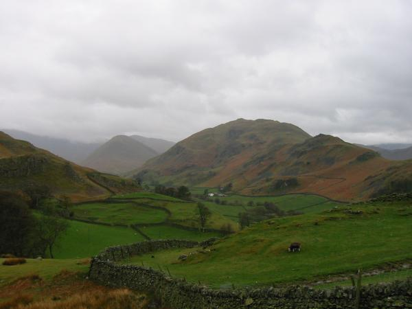 The Nab with Rest Dodd behind and Beda Fell from the climb up Hallin Fell