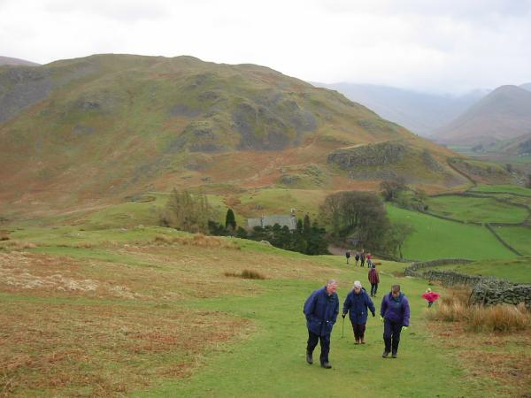 Climbing Hallin Fell from St. Peter's Martindale, with Steel Knotts behind