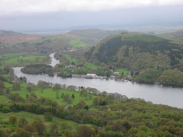 Windermere, Lakeside with Summer House Knott behind and the sea in the distance with 'the rain' coming in
