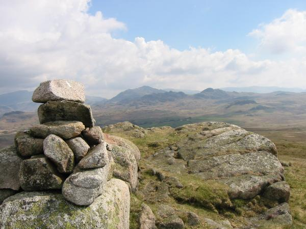 Crook Crag and Green Crag with Harter Fell, Eskdale behind from Rough Crag summit