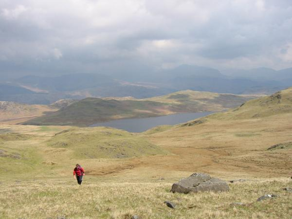 Devoke Water, Water Crag and Rough Crag from the climb up White Pike
