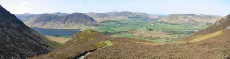 Panorama across the Loweswater fells from above Whin Ben