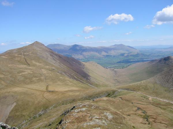 Grisedale Pike, Skiddaw and Blencathra from the climb up Grasmoor for Coledale Hause