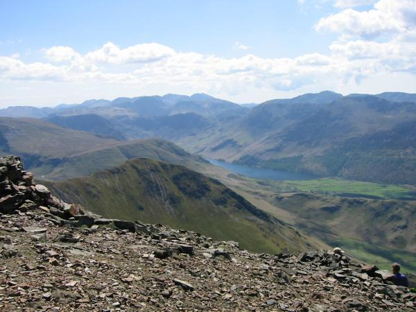 Looking down on Whiteless Pike with the Scafells and Pillar in the far distance from Grasmoor summit