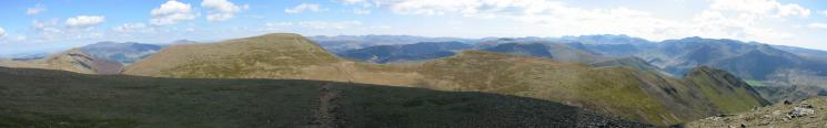 Panorama from the east end of Grasmoor summit plateau