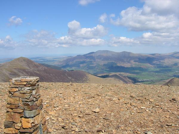 Grisedale Pike and Skiddaw from Eel Crag (Crag Hill) summit