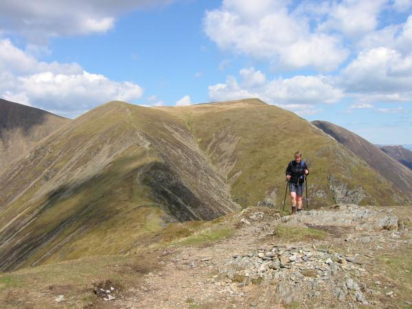 Thirdgill Head Man and Wandope from Whiteless Pike summit