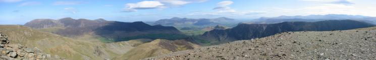 Northerly panorama from Hindscarth's northern summit cairn