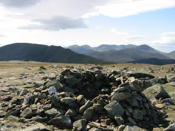 Dale Head, The Scafells and Great Gable from Hindscarth summit