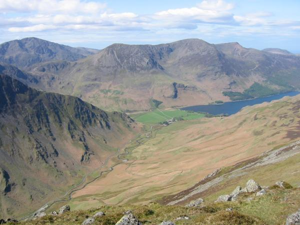 The ridge of Fleetwith Pike sloping down left to right, Pillar, the High Stile Ridge and Buttermere from Dale Head
