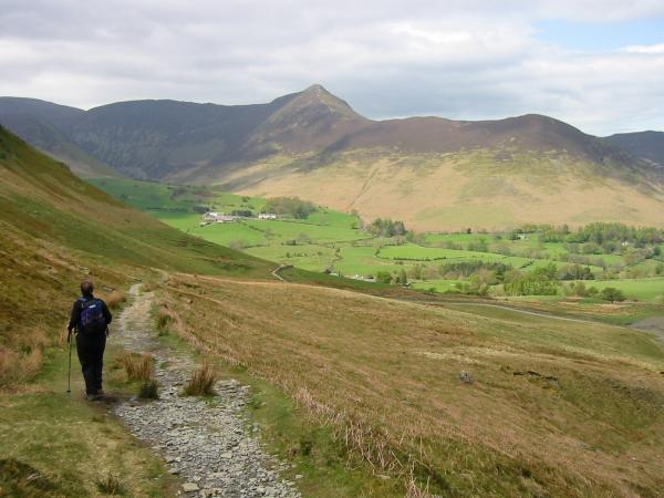The path to Little Town from Hause Gate, with Causey Pike ahead