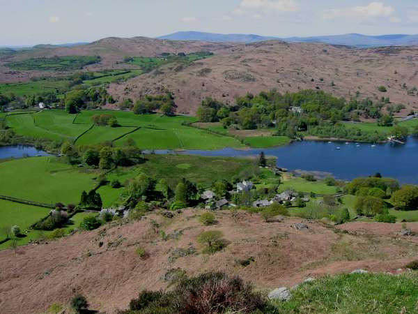 Looking down on Nibthwaite and the southern end of Coniston Water