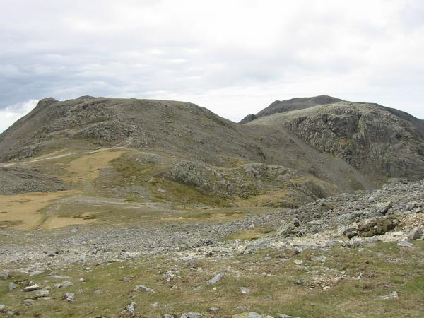 Ill Crag and Broad Crag with Scafell Pike behind from Great End