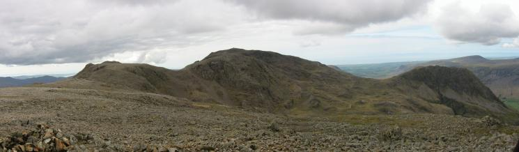 Ill Crag, Broad Crag with Scafell Pike behind and Lingmell from Great End's northwestern summit cairn