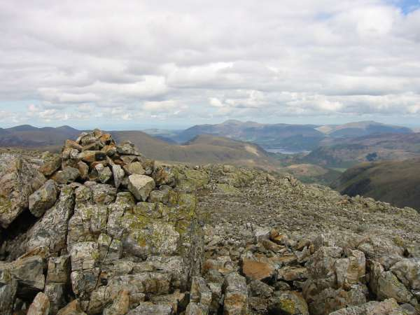 Looking northwards towards Skiddaw from Great End's summit cairn