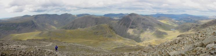 Northwesterly panorama from Scafell Pike