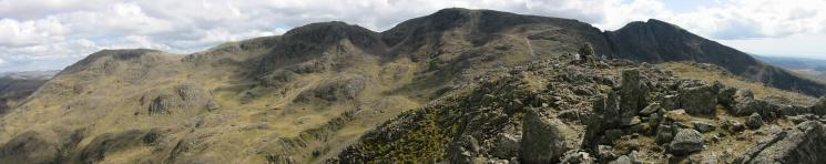 Great End, Broad Crag, Scafell Pike and Scafell from Lingmell summit
