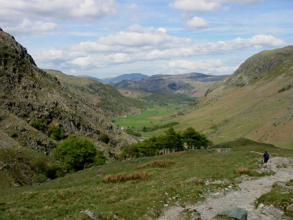 Upper Borrowdale from Greenhow Knott with Blencathra in the far distance