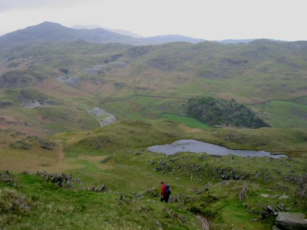 Descending back down to Stickle Tarn from the summit