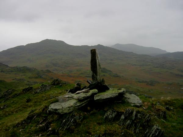 Caw with Walna Scar in the distance from the 1,183ft / 361m spot height