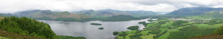 North westerly panorama from Walla Crag summit